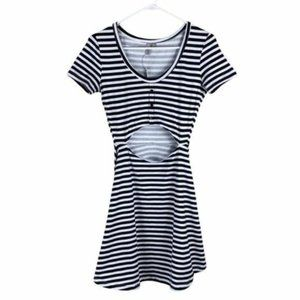 ASOS women's open stomach cutout striped fit & flare dress new!